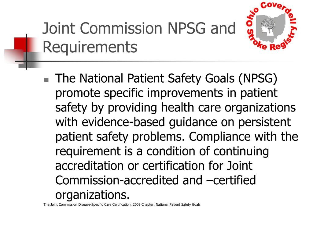 Joint Commission NPSG and Requirements