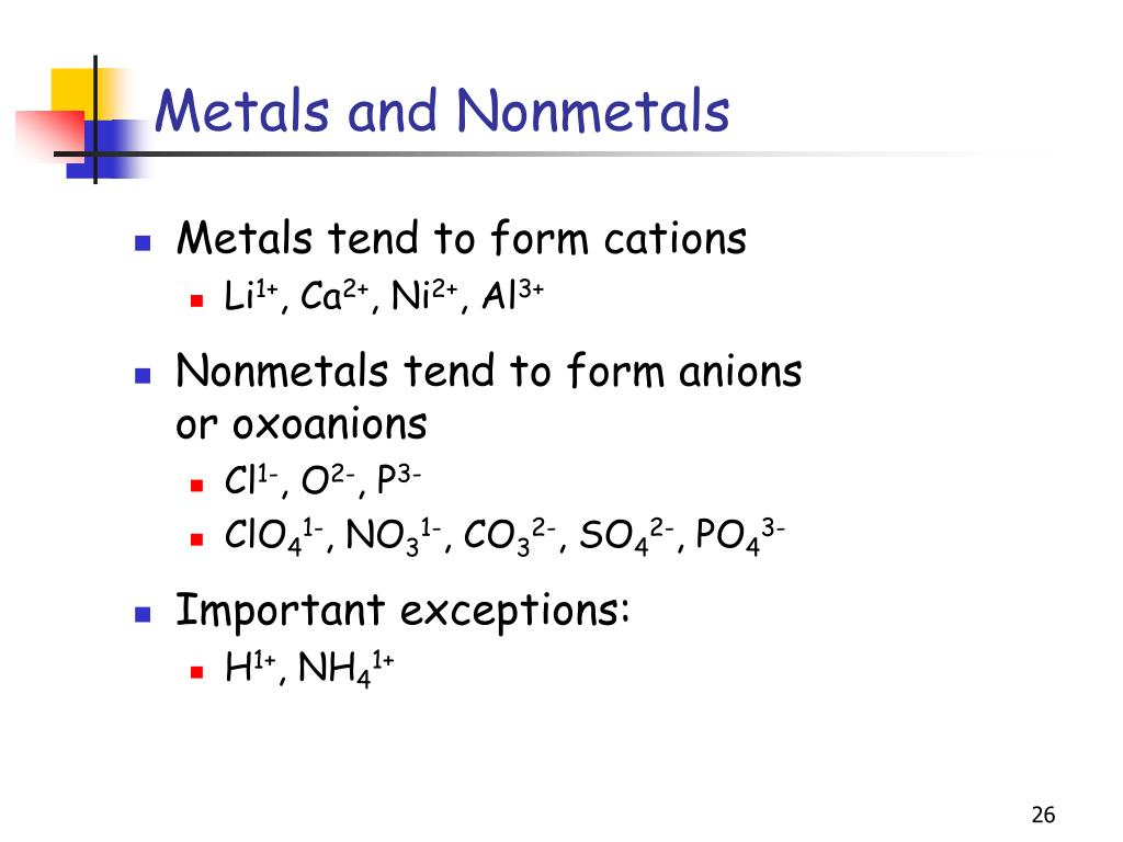 Metals tend to form cations