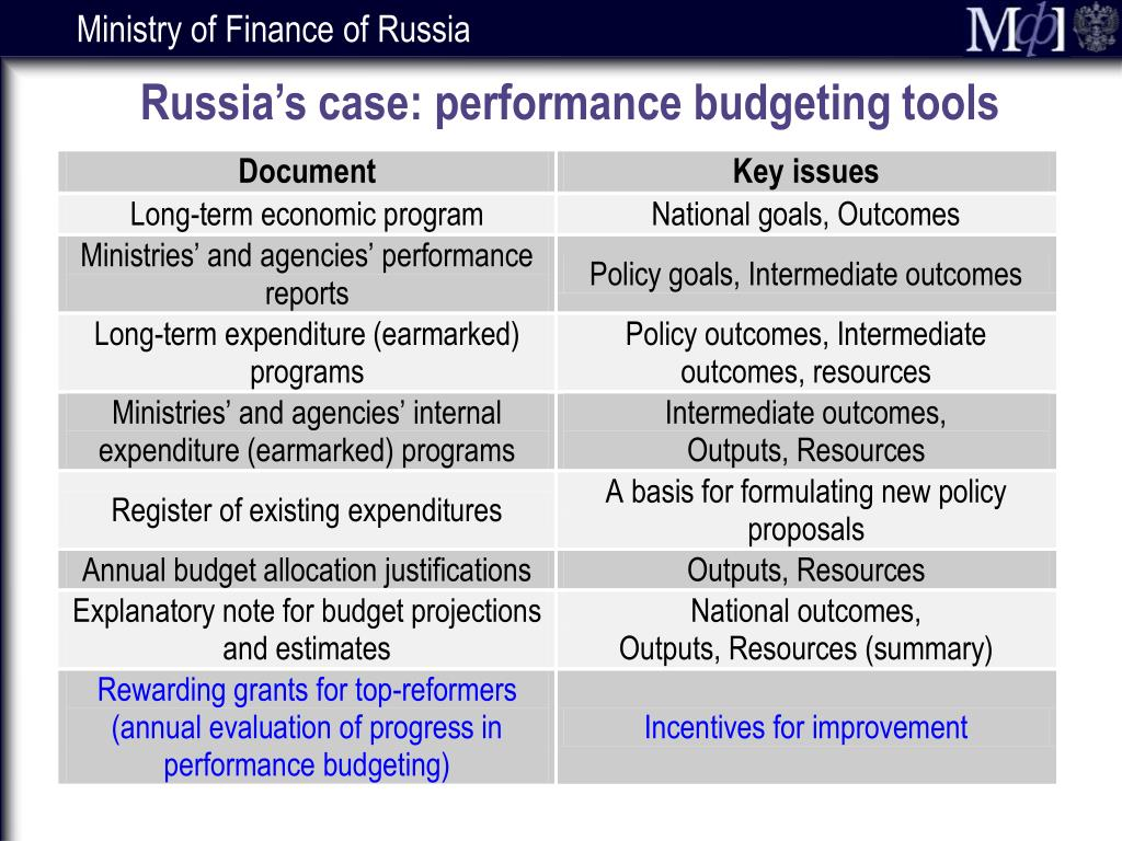 Russia's case: performance budgeting tools