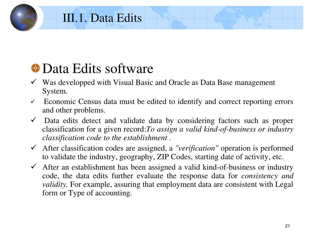 III.1. Data Edits