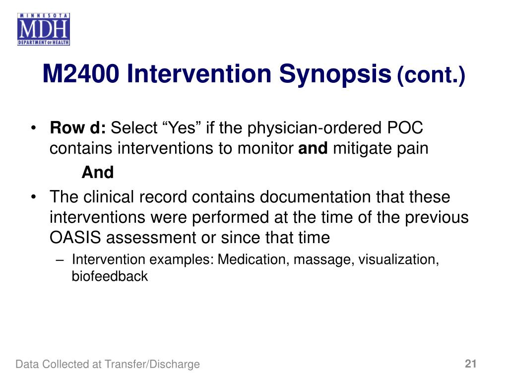 M2400 Intervention Synopsis