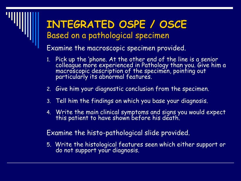 INTEGRATED OSPE / OSCE