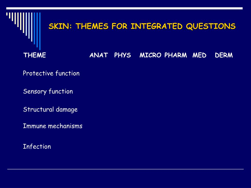 SKIN: THEMES FOR INTEGRATED QUESTIONS
