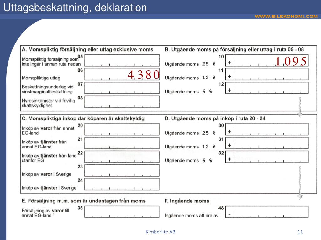 Uttagsbeskattning, deklaration