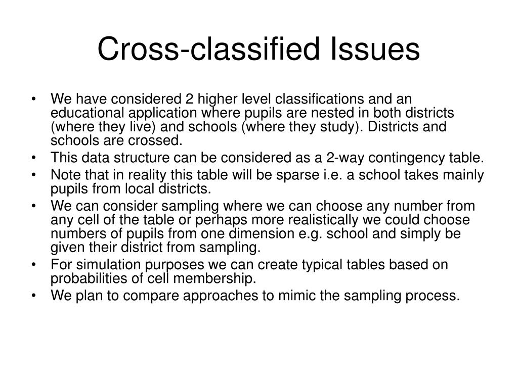 Cross-classified Issues