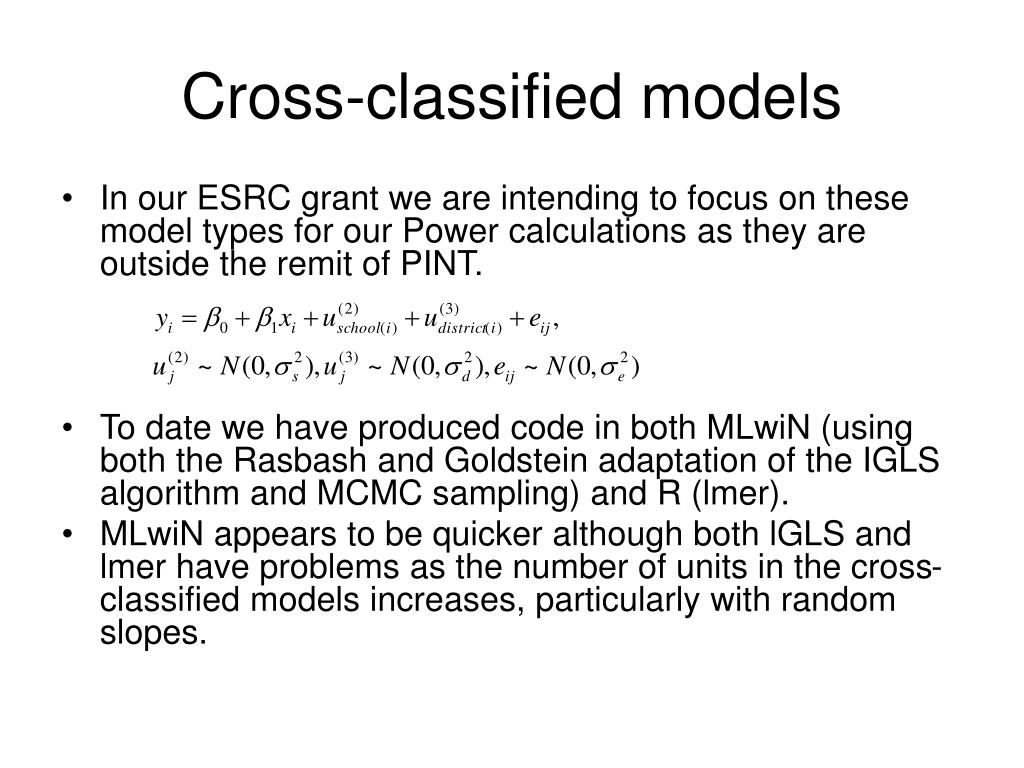 Cross-classified models