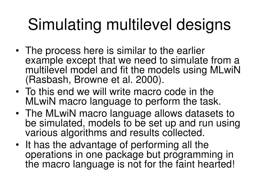 Simulating multilevel designs