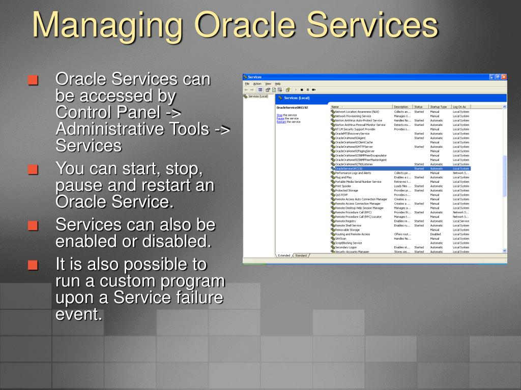 Managing Oracle Services
