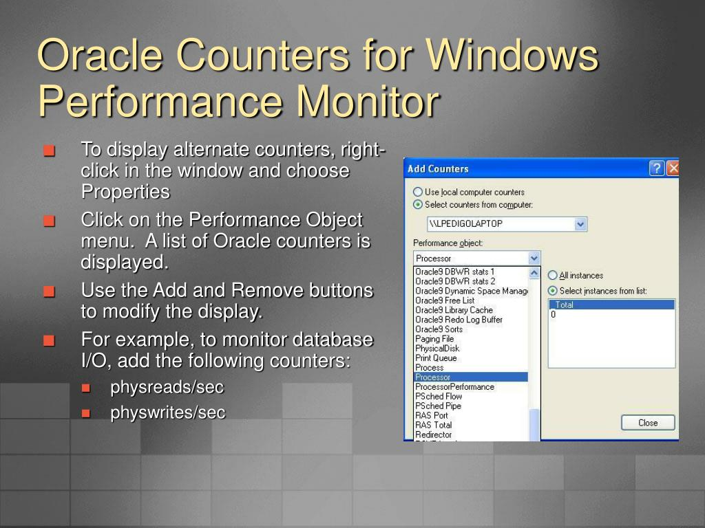 Oracle Counters for Windows Performance Monitor