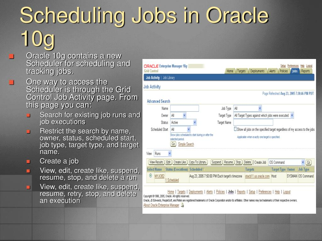 Scheduling Jobs in Oracle 10g