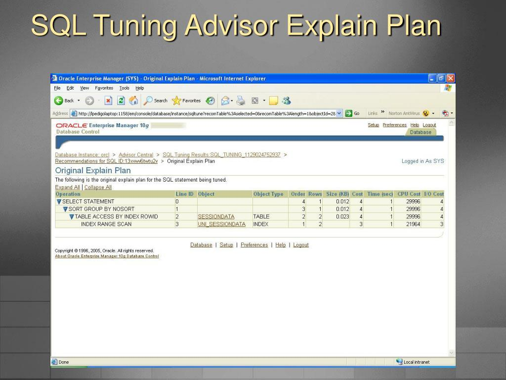 SQL Tuning Advisor Explain Plan