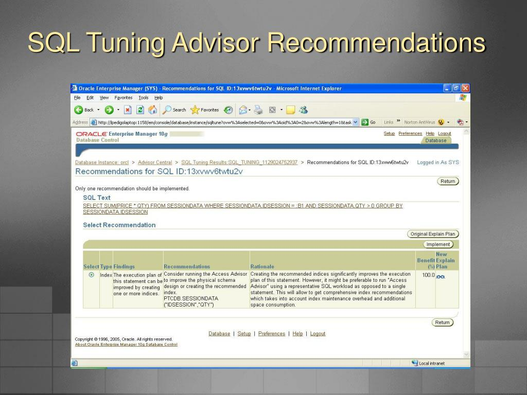 SQL Tuning Advisor Recommendations