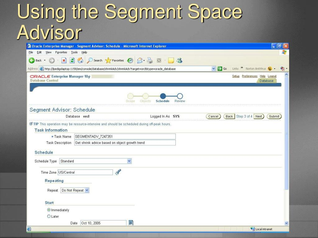 Using the Segment Space Advisor