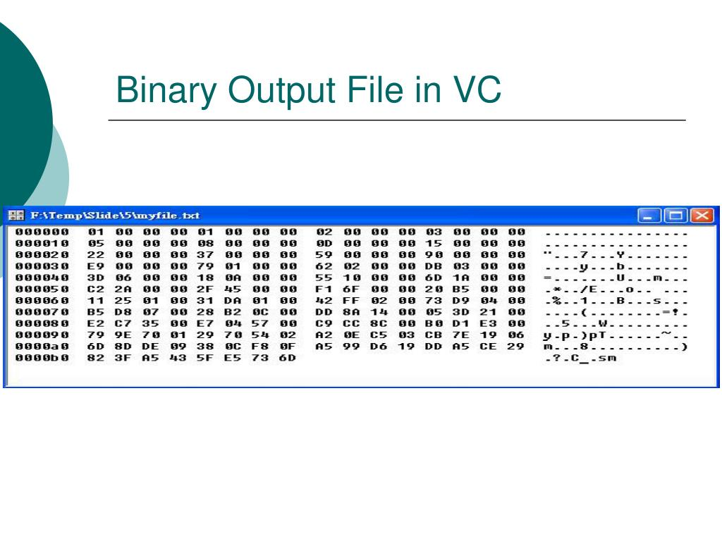 Binary Output File in VC