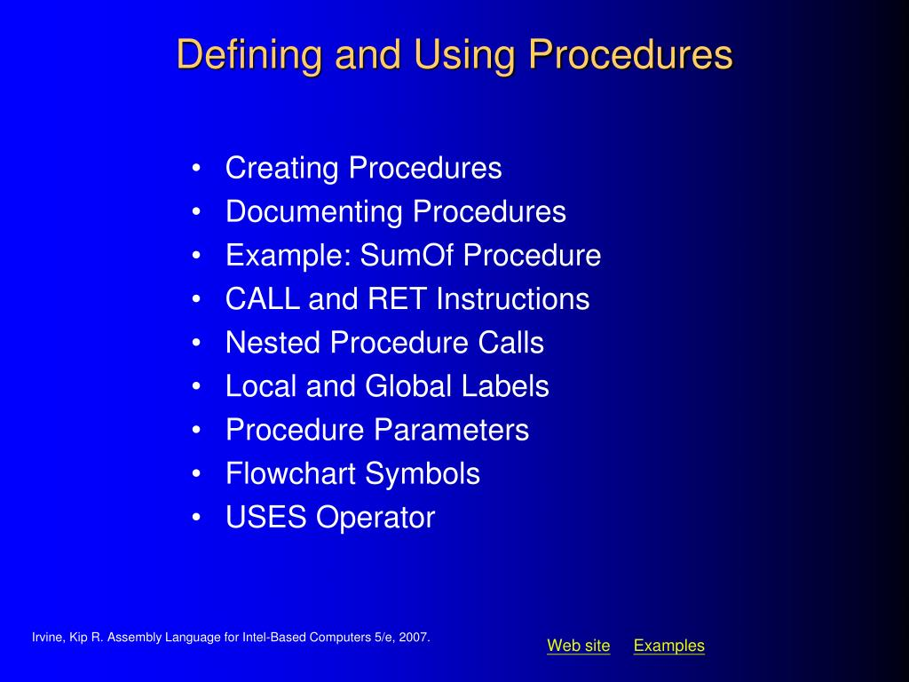 Defining and Using Procedures