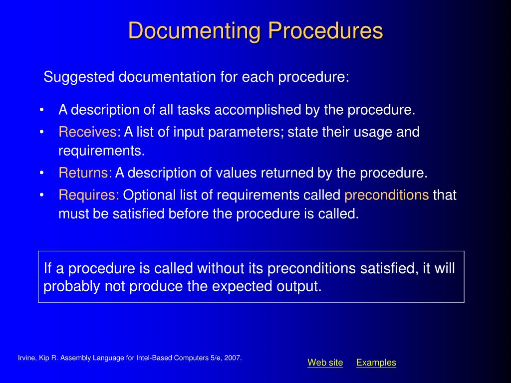 Documenting Procedures
