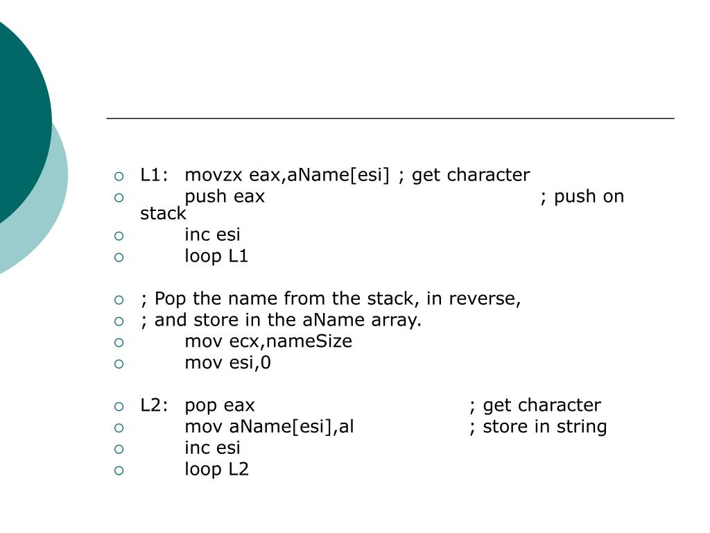 L1:movzx eax,aName[esi]; get character