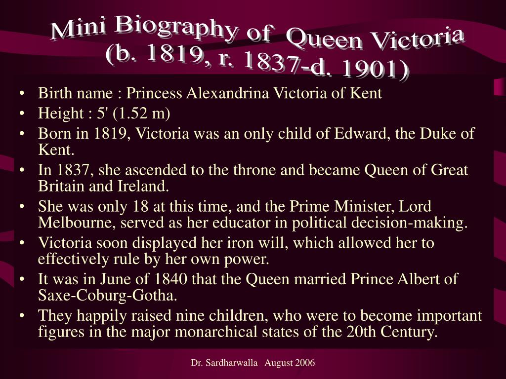 Mini Biography of  Queen Victoria