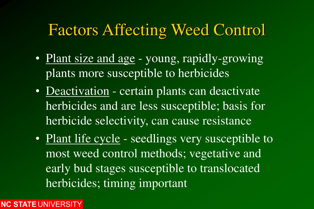 Factors Affecting Weed Control