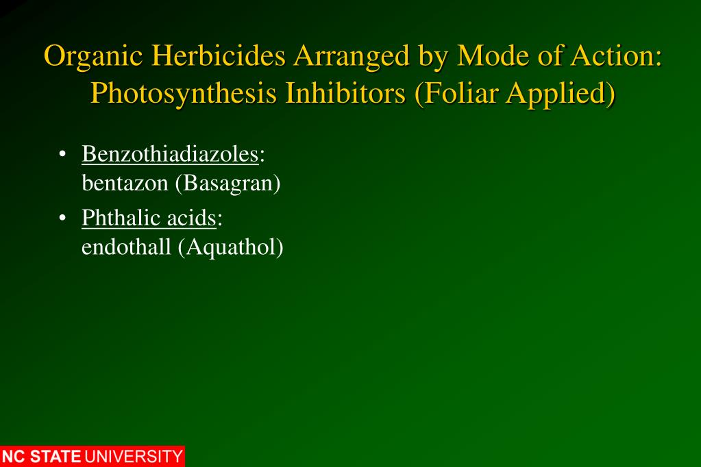 Organic Herbicides Arranged by Mode of Action: