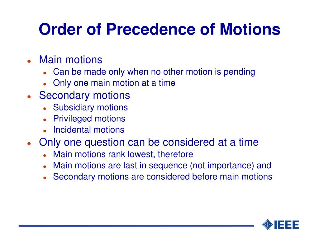 Order of Precedence of Motions