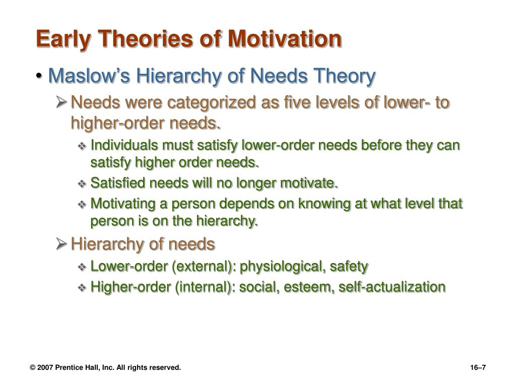 early theories of motivation 1 Maslow theory of motivation proposes that people who have all their lower order needs met progress towards the fulfilment their potential motivation theories - getting people to take action erg theory - practical application to leading change.