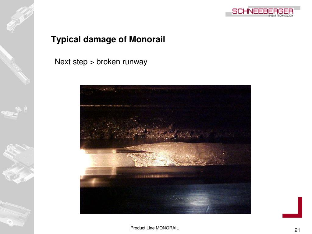 Typical damage of Monorail