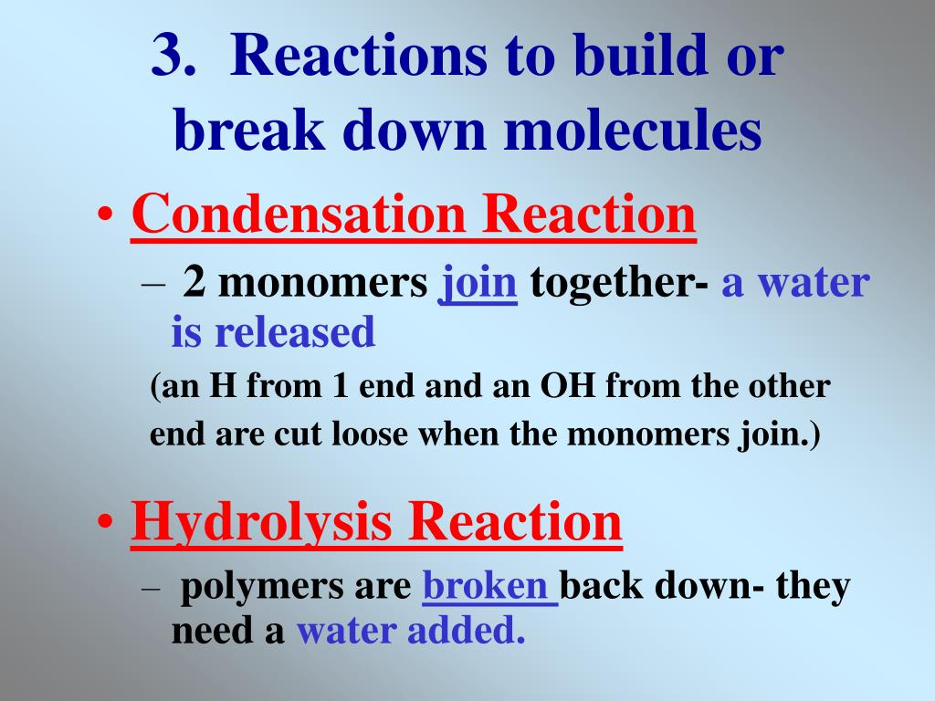 3.  Reactions to build or break down molecules