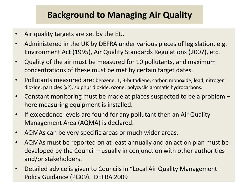 Background to Managing Air Quality
