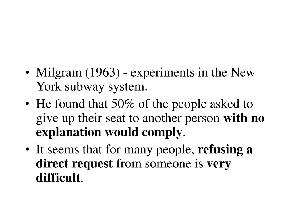 factors involved in milgram s obedience study Milgram's study it's been criticised that his study lacks experimental (internal)   to real life situations where obedience is required rebuttal by milgram • his   their criticisms included of the hofling's study included: • • the nurses had no   to be reasonable and appropriate other factors for obedience include.