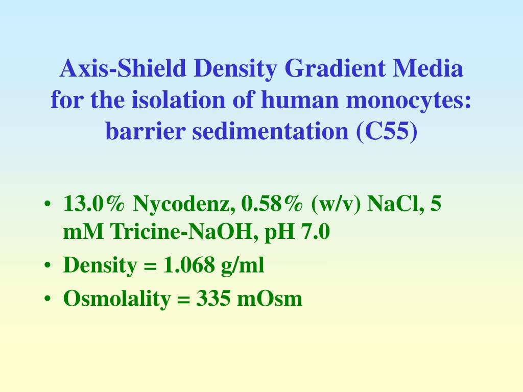 Axis-Shield Density Gradient Media