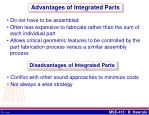 advantages of integrated parts