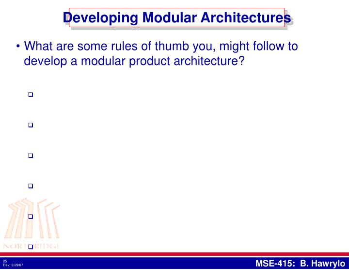 Developing Modular Architectures