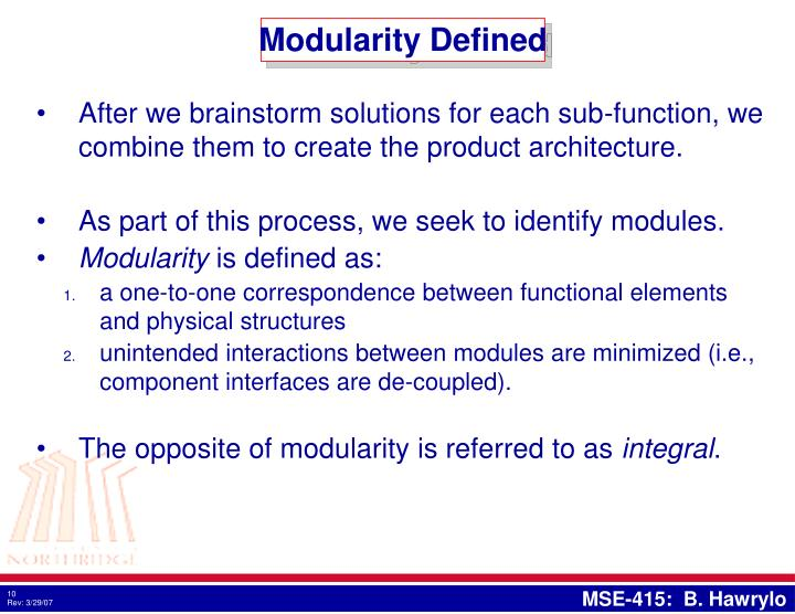 Modularity Defined