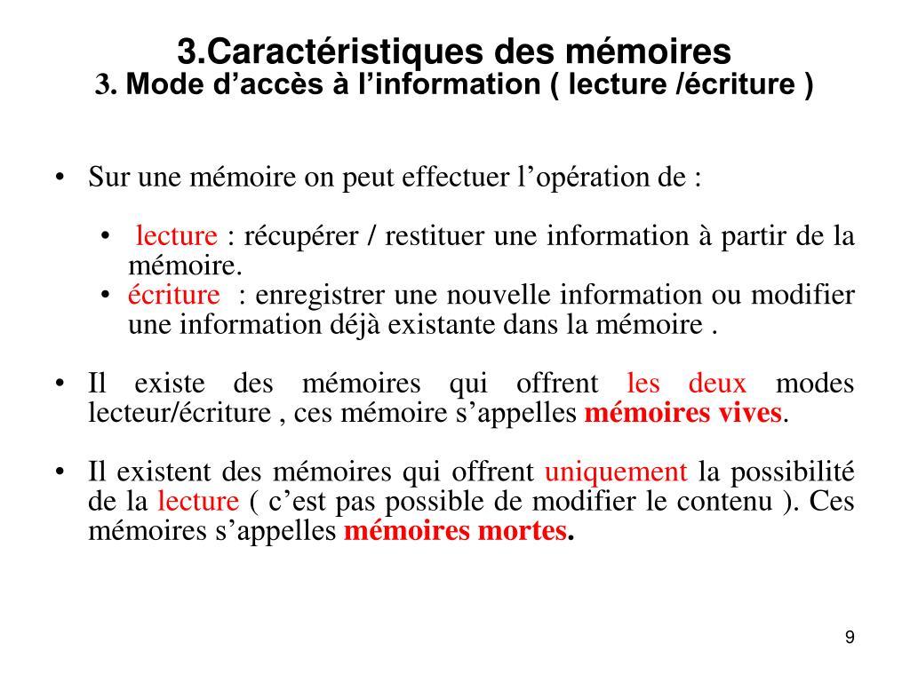 3.Caractéristiques des mémoires