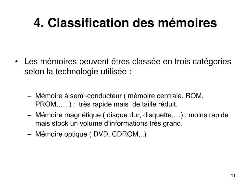 4. Classification des mémoires