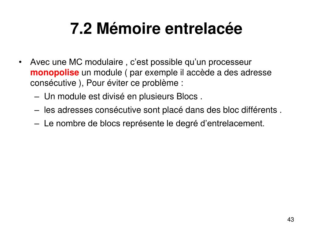 7.2 Mémoire entrelacée