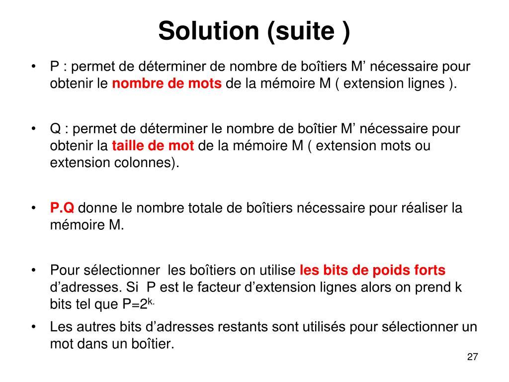 Solution (suite )