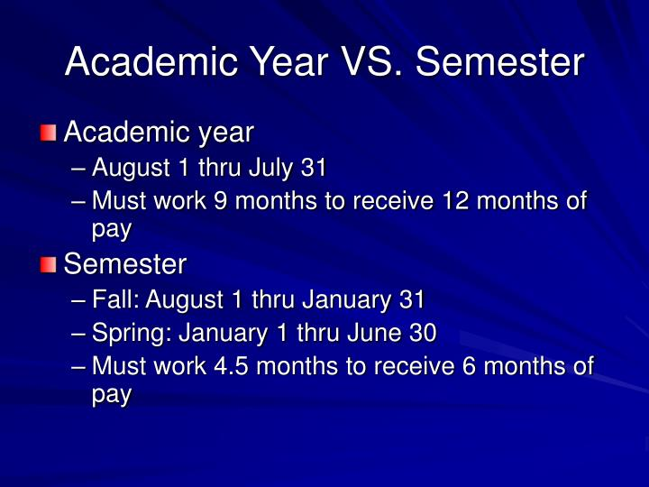 Academic year vs semester