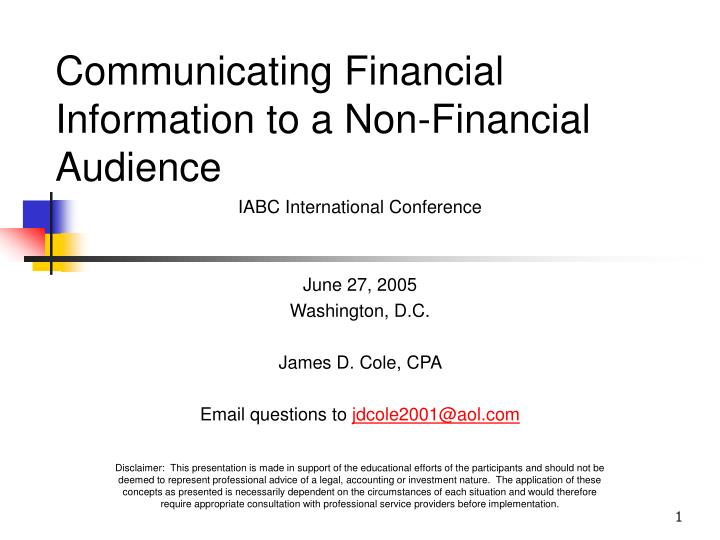 Communicating financial information to a non financial audience