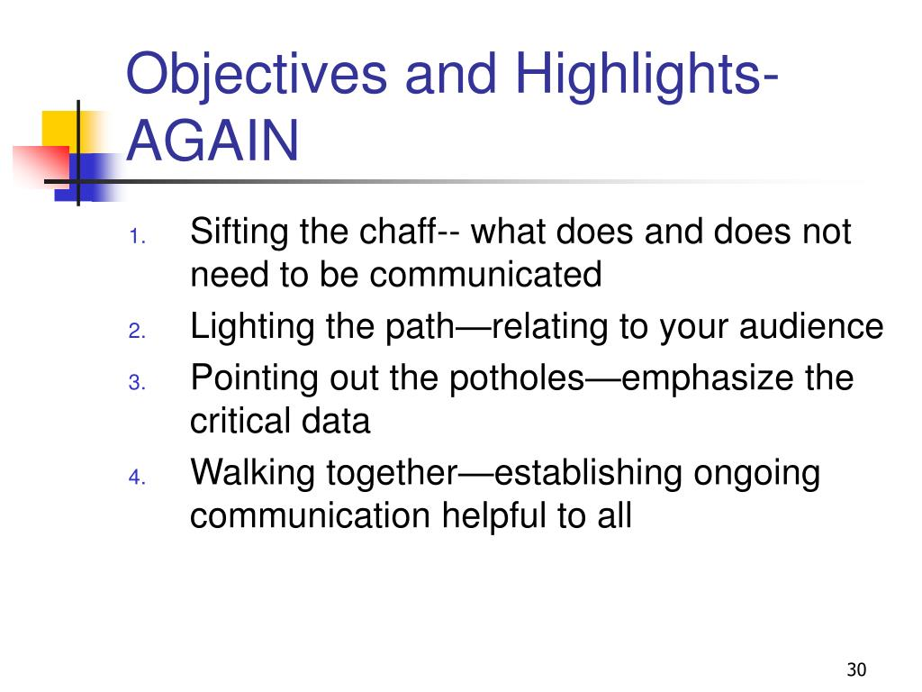 Objectives and Highlights-AGAIN