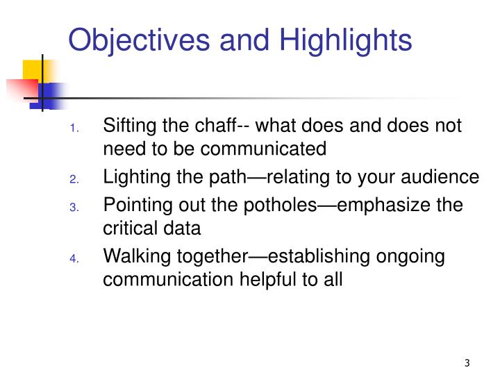 Objectives and highlights l.jpg