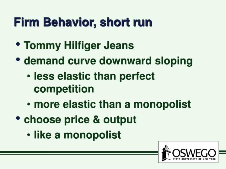 Firm Behavior, short run