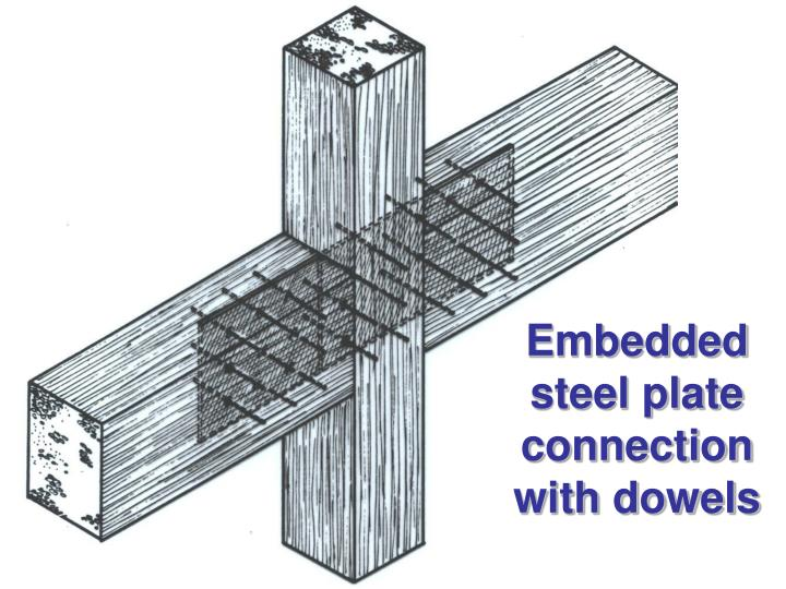 Embedded steel plate connection with dowels