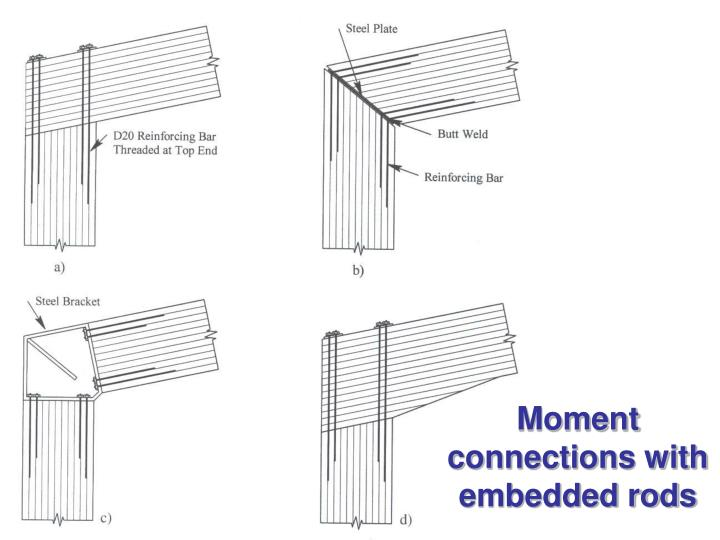 Moment connections with embedded rods
