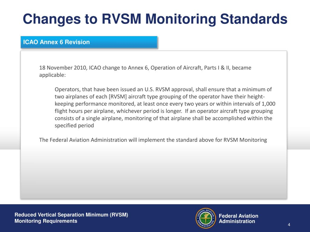 Changes to RVSM Monitoring Standards