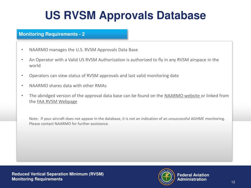 US RVSM Approvals Database