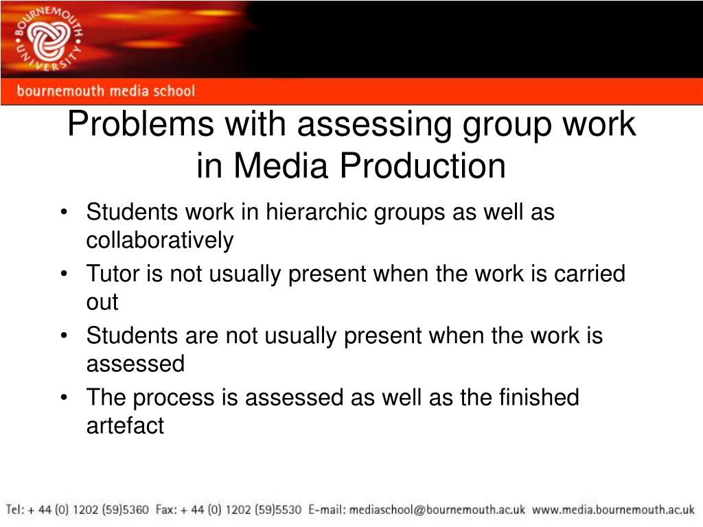 Problems with assessing group work in Media Production