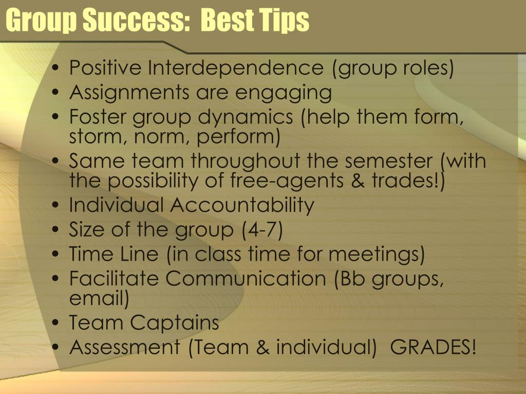 Group Success:  Best Tips