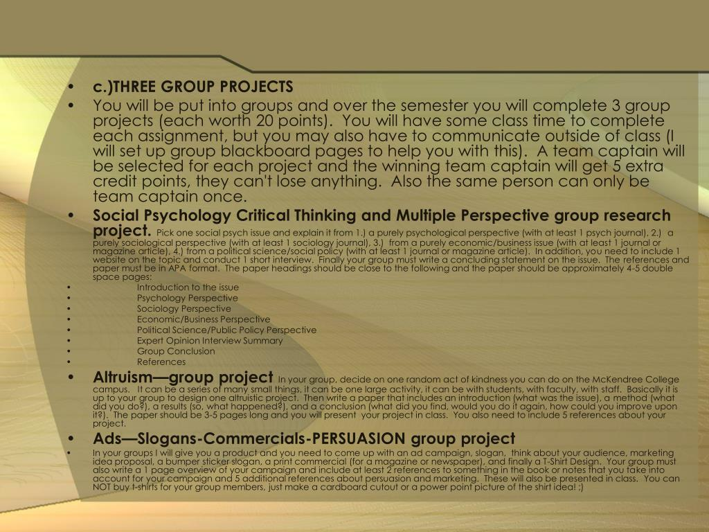 c.)THREE GROUP PROJECTS
